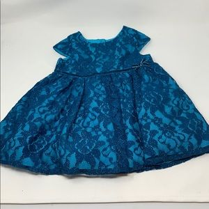 NWT little girl turquoise lace sparkle dress 24m